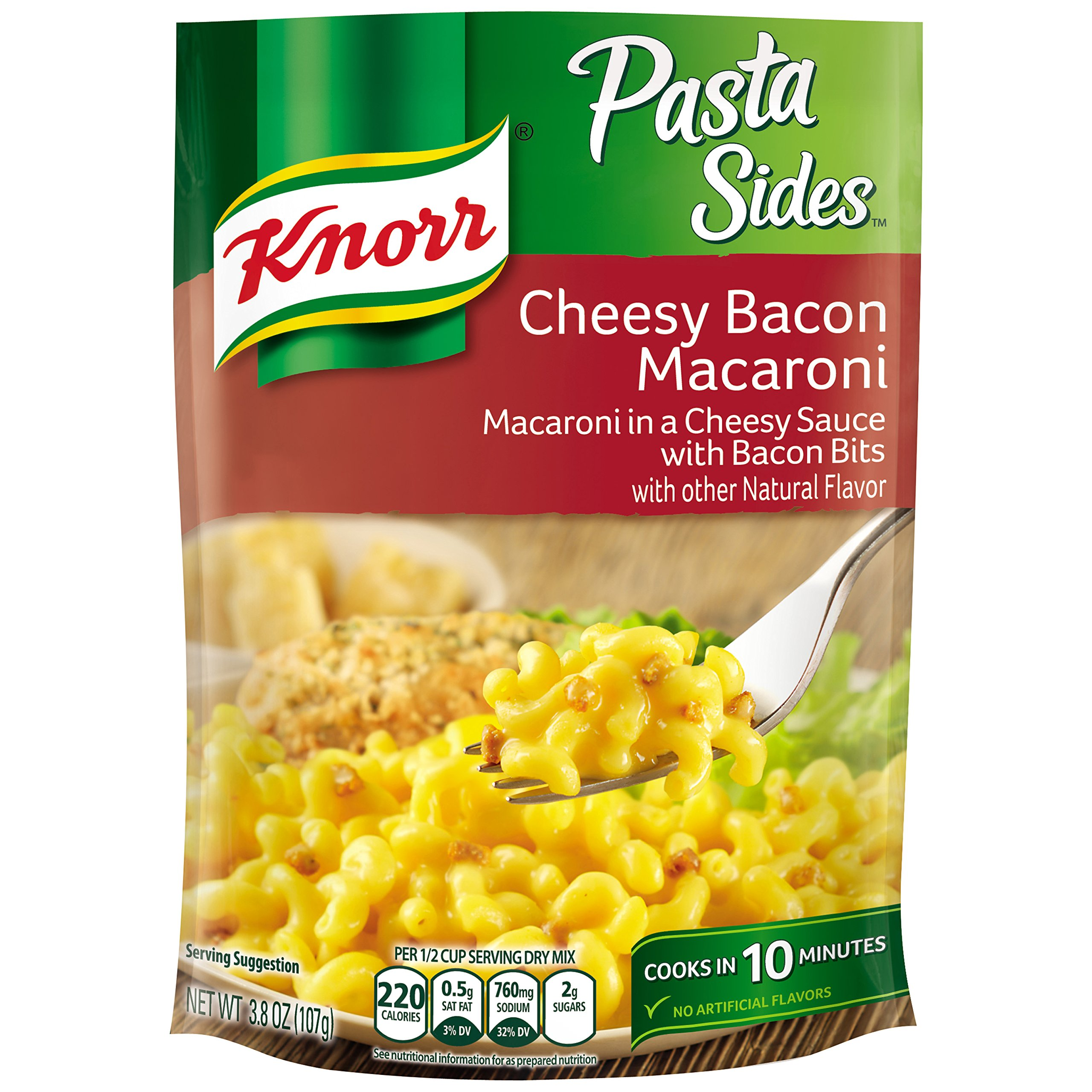 Knorr Pasta Sides Pasta Side Dish, Cheesy Bacon Macaroni, 3.8 oz