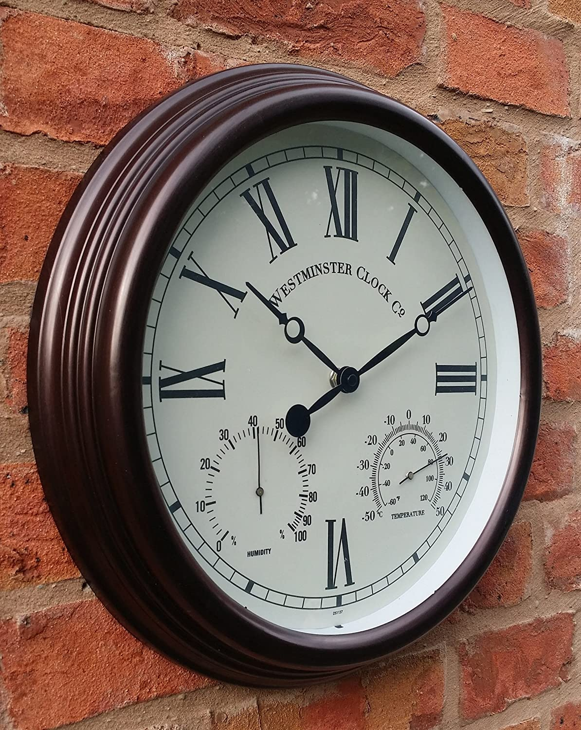 garden clock. Outdoor Garden Wall Clock With Temperature And Humidity Roman Numerals - 38cm: Amazon.co.uk: Kitchen \u0026 Home A