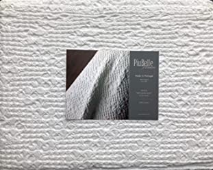 Piu Belle Portugal Solid White Textured Bubble French Farmhouse Style Matelasse Quilt Coverlet (Queen)