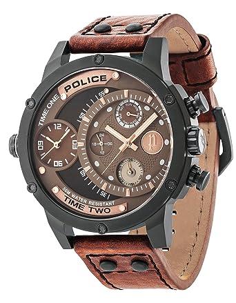 police men s mechanical watch brown dial analogue display and police men s mechanical watch brown dial analogue display and brown leather strap 14536jsb 12a