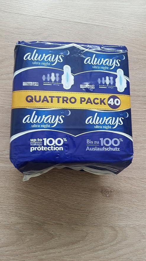 Siempre Ultra Toallas Sanitarias con alas hasta 100% de protección de fuga Quattro)
