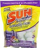 Sun Triple Clean Laundry Detergent Pacs, Tropical Breeze, 24 Count