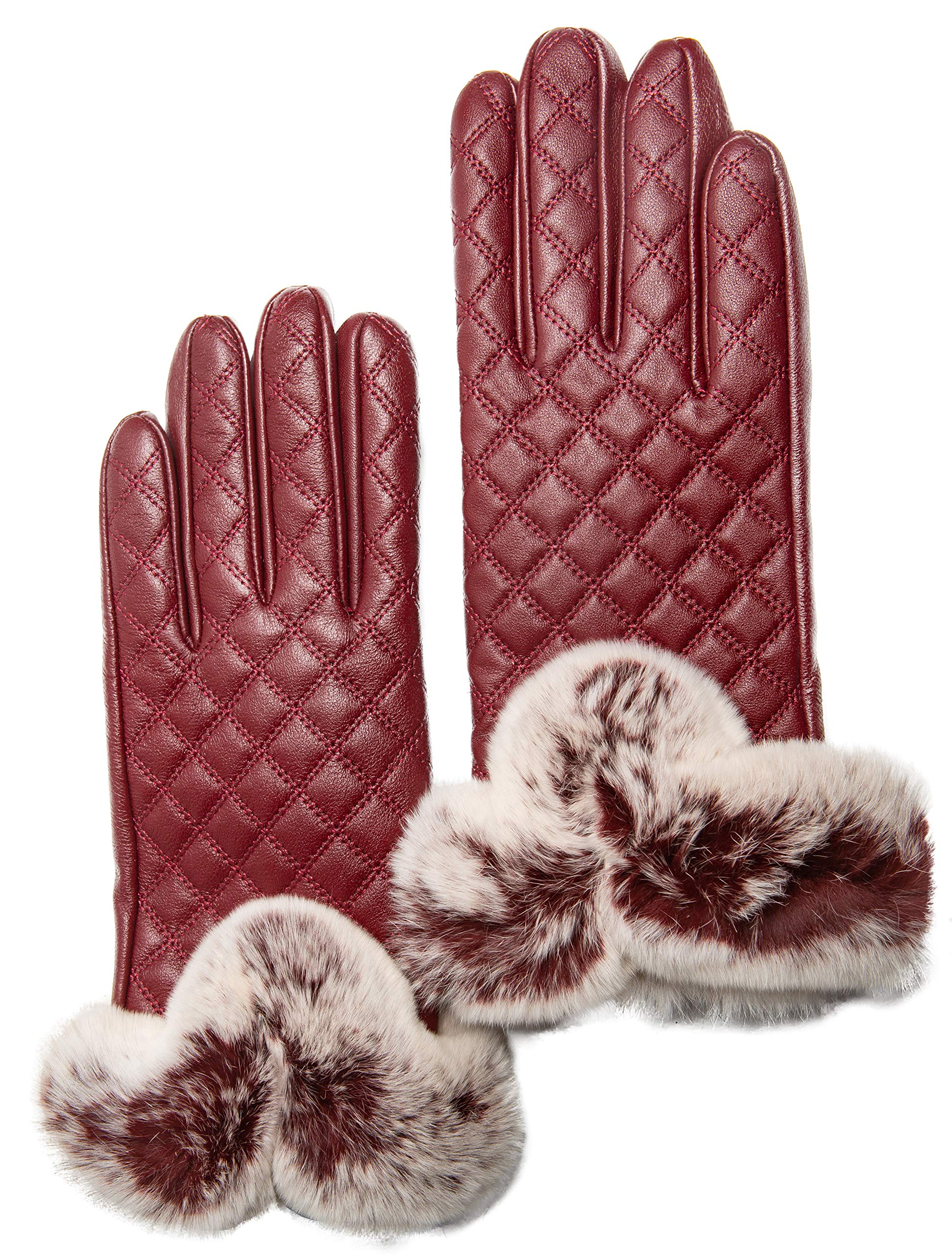 Women's Touchscreen Cashmere Lined Leather Gloves, Gift Box by CANDOR AND CLASS (Wine S)