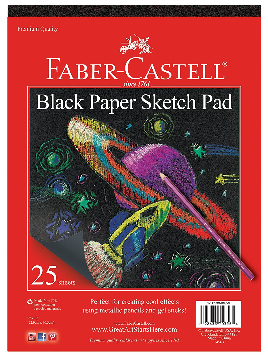 Faber-Castell Construction Paper Pad - Multi-Colored Craft Paper (9 x 12), 60 Sheets FC14553AZ
