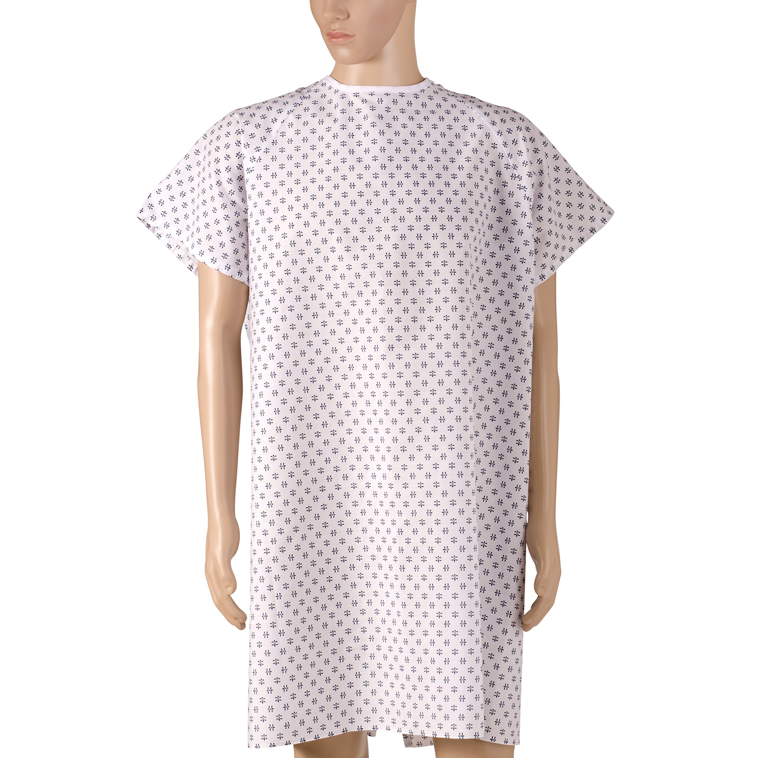 DMI Patient Unisex Hospital Gowns with Back Tie, Print, 12-Count