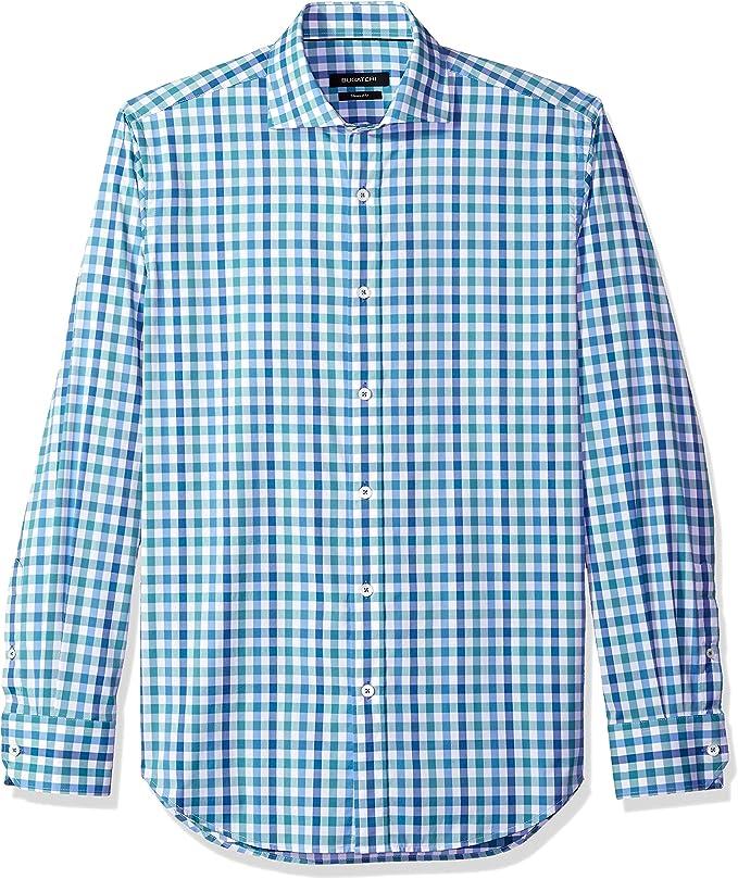 Bugatchi Hombre JS4326G20S Manga Larga Camisa de botones - Verde - Small: Amazon.es: Ropa y accesorios