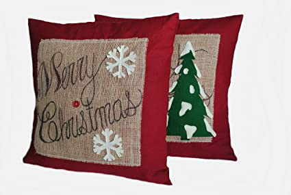 two merry christmas pillow covers one christmas tree and one snowflake 20x20 - Christmas Decorative Pillows