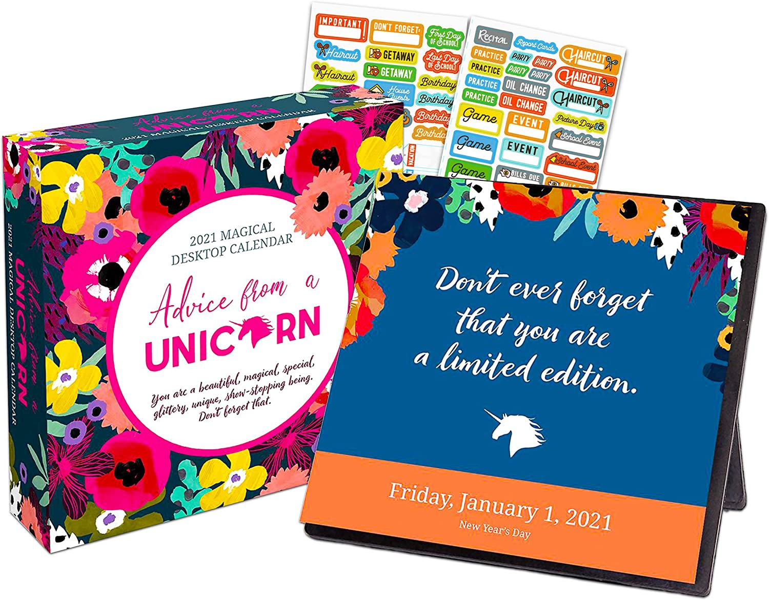 Advice from A Unicorn 2021 Calendar Box Edition Bundle - Deluxe 2021 Funny Unicorns 365 Daily Pages Box Calendar with Over 100 Calendar Stickers