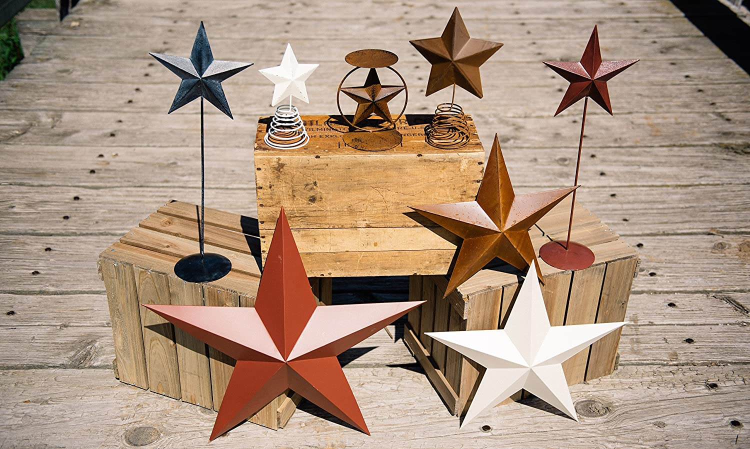 Craft Outlet Rustic Tin Star On Wire Table Topper, Multi-Colour,12.5-Inch, 2-Piece COIIN T0416