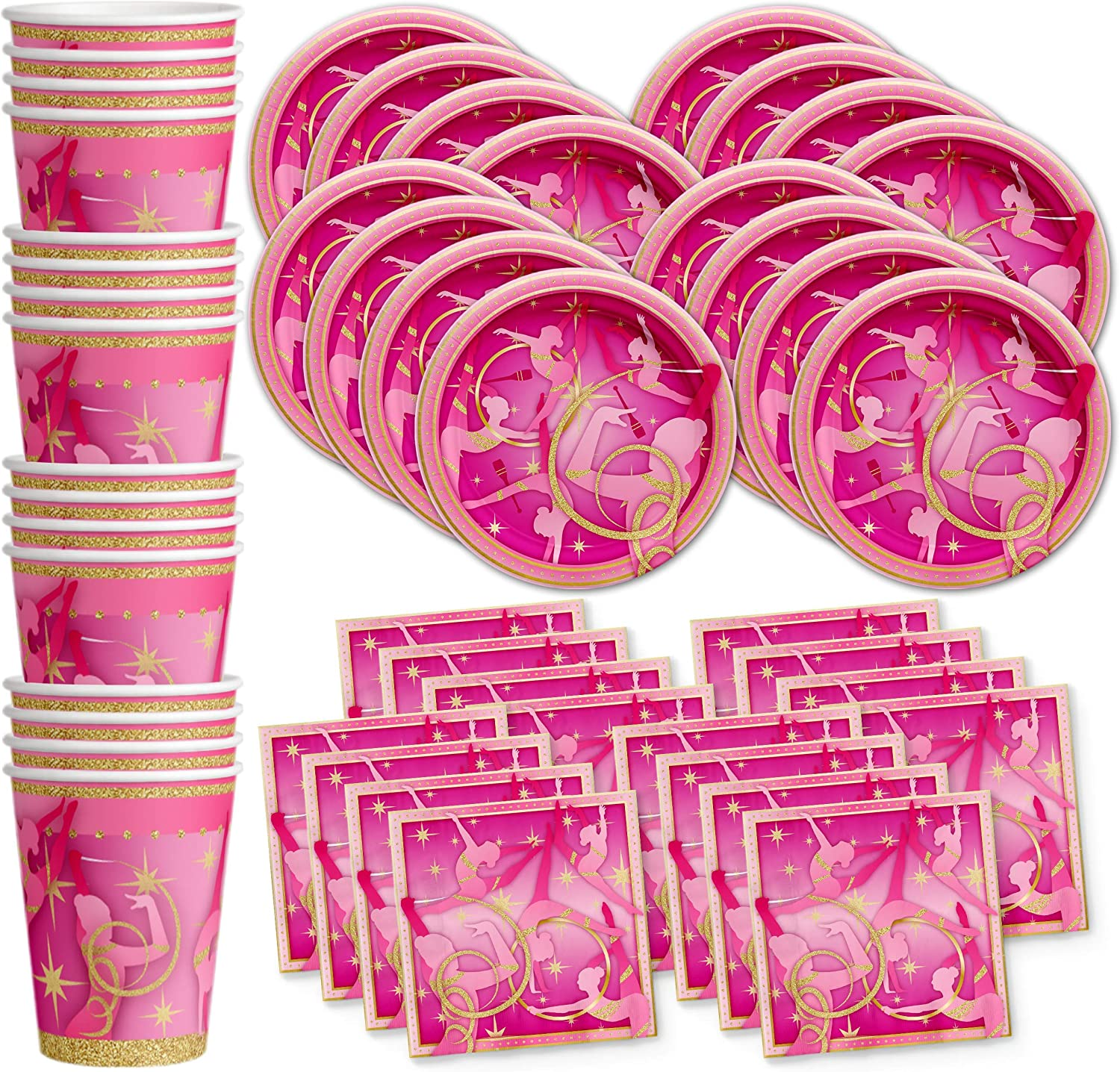 Pink and Gold Gymnastics Birthday Party Supplies Set Plates Napkins Cups Tableware Kit for 16
