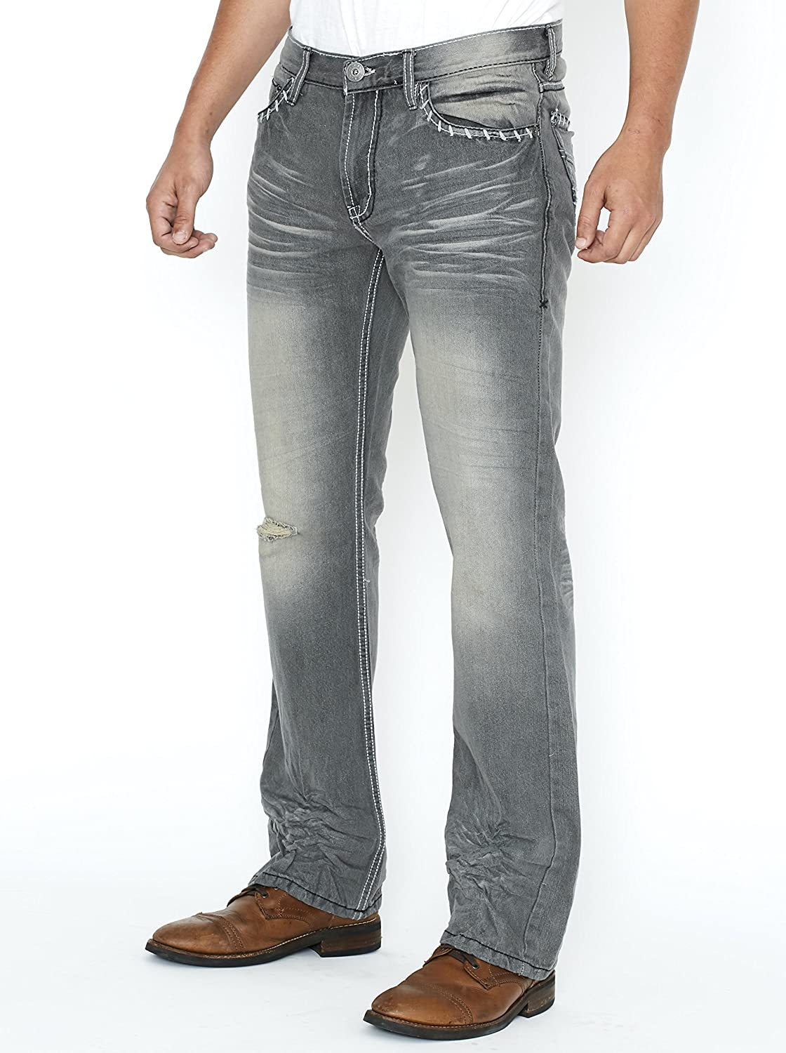 b9c51e9723e Slim Bootcut Men's Jeans - Faded and Ripped Denim Jean - Soft Comfort at  Amazon Men's Clothing store: