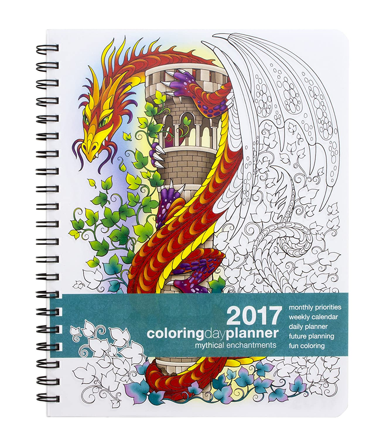 2017 Large Mythical Enchantments Coloring Day Planner 8 5 X 11