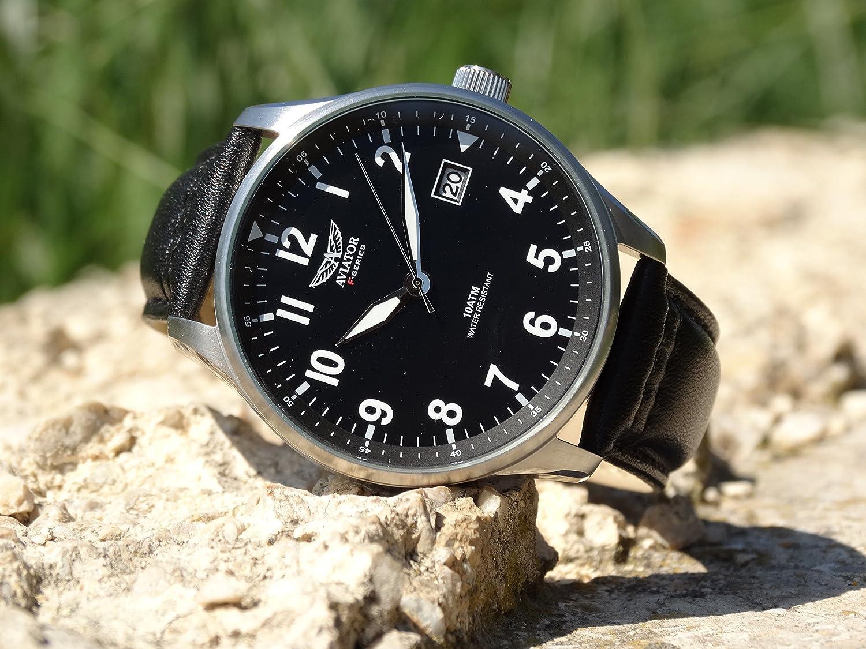 AVIATOR AVW6073G312 F-Series - Reloj de Pulsera para Hombre, Estilo Vintage, Estilo piloto, con Fecha, Cuarzo, Correa de Piel, Color Negro: Aviator ...