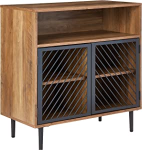 Walker Edison Modern Metal Accent and Wood Kitchen Buffet Entryway Bar Cabinet Storage Entry Table Living Dining Room, 32 Inch, Reclaimed Barnwood Brown
