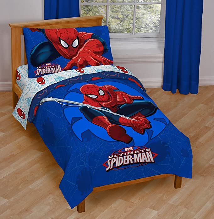 spiderman bedroom furniture. Amazon com  Marvel Spiderman Regulator Toddler 4 Piece Bed Set Home Kitchen