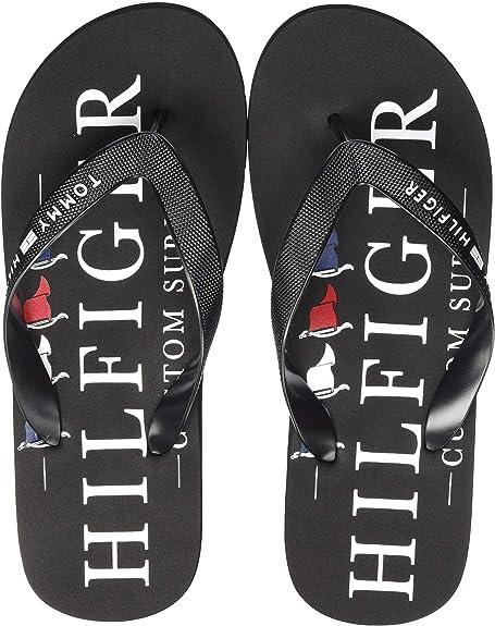 Tommy Hilfiger Nautical Print Beach Sandal, Sandalias con Punta Abierta Hombre