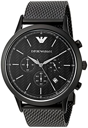 7b30c077abd Amazon.com  Emporio Armani Men s AR2498 Dress Black Mesh Quartz Watch   Watches