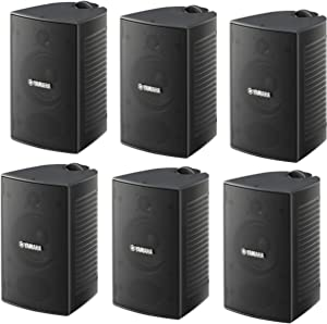 Yamaha High-Performance Natural Surround Sound 2-Way Indoor/Outdoor Weatherproof Home Theater Speakers (Set of 6)