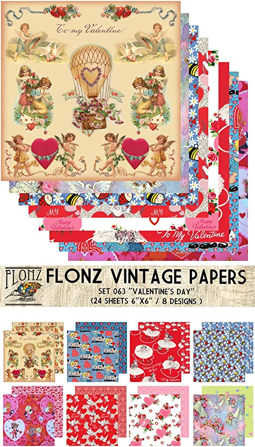 24sh 15x15cm Retro Christmas Papers FLONZ Vintage Paper for Scrapbooking and Craft Paper Pack