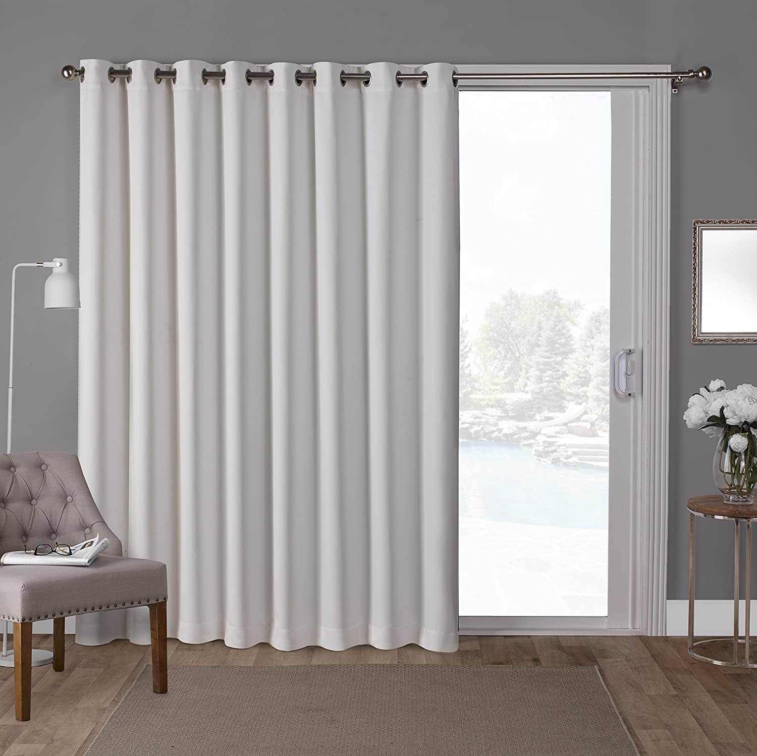 Exclusive Home Curtains Sateen Vanilla 100x84 Twill Woven Blackout Wide Patio Grommet Top Single Curtain Panel