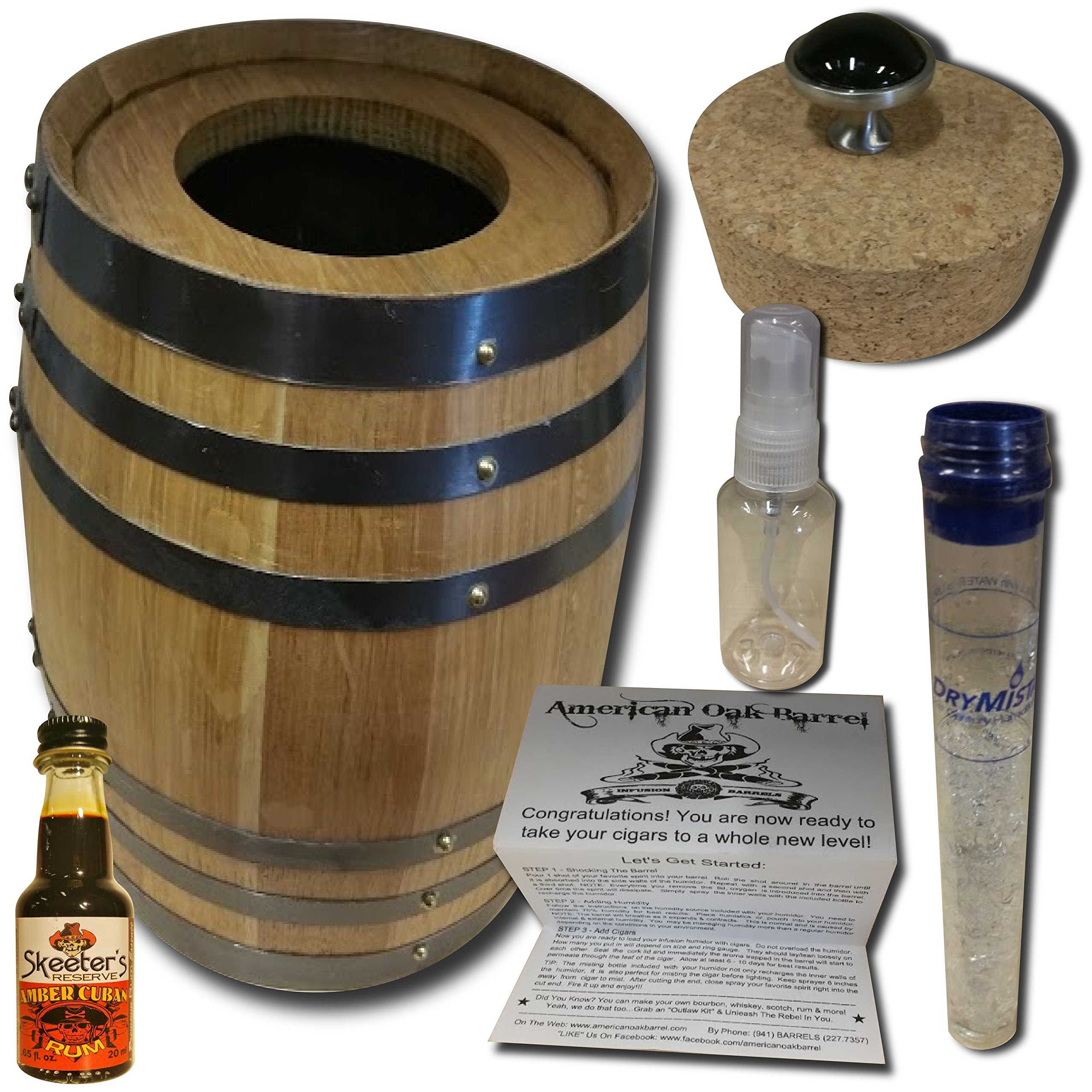 Infusion Humidor Cigar Barrel From American Oak Barrel - Amber Cuban Rum Infusion Kit (2 Liter, Natural Oak With Black Hoops)