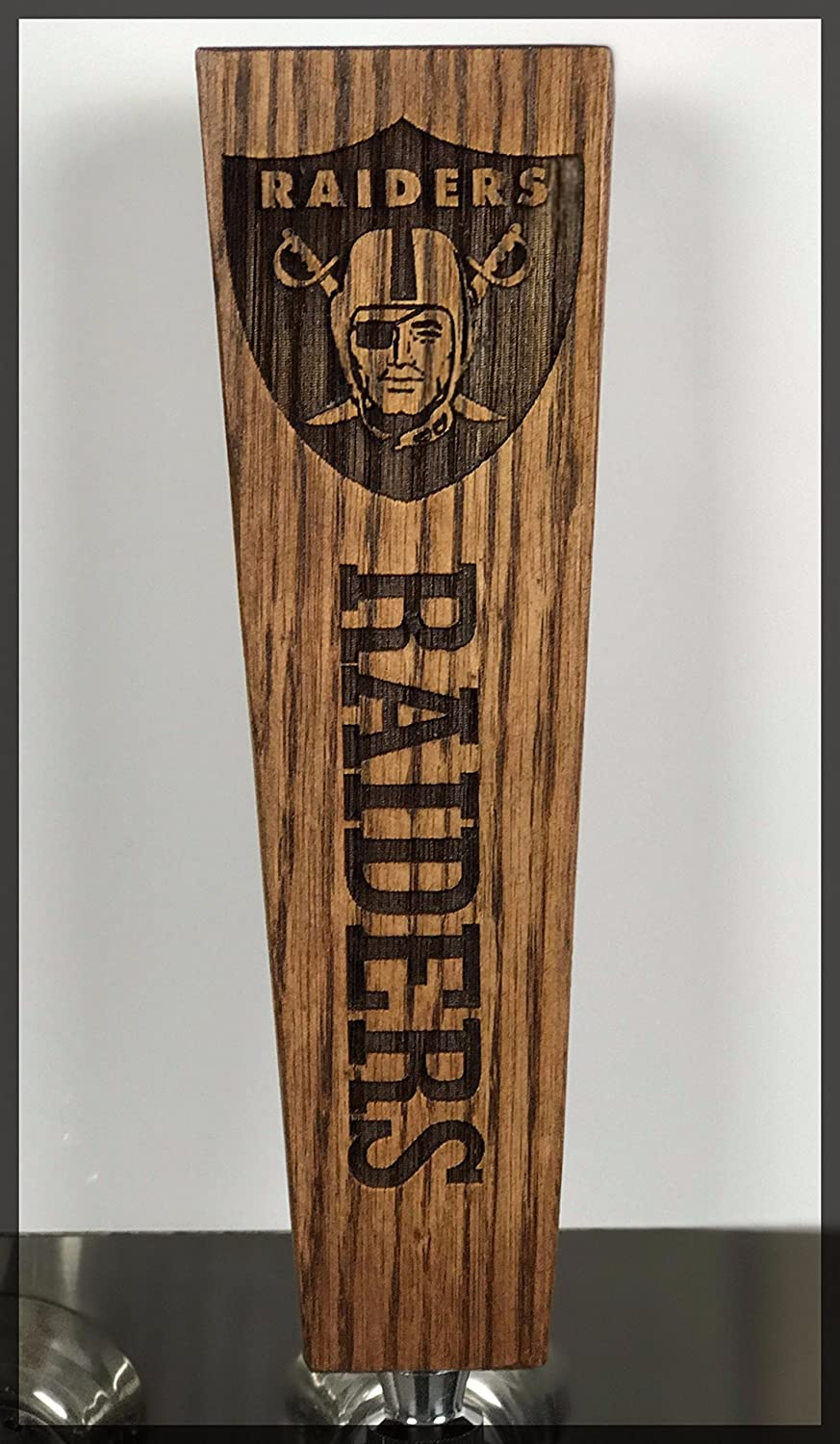 Raiders Solid Oak Engraved Tap Handle Rusted Kettle Brewing