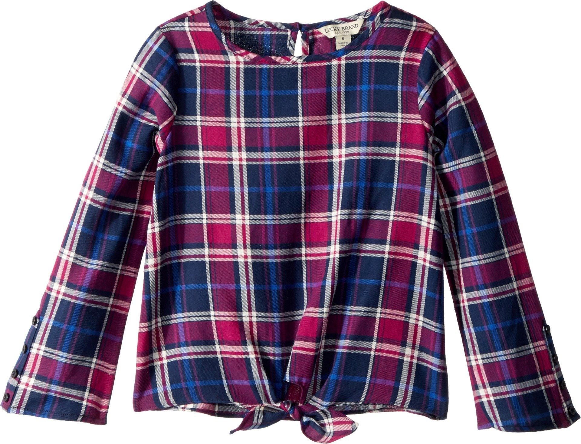 Lucky Brand Kids Girl's Dana Yarn-Dye Plaid Top (Little Kids) Black Iris 6X