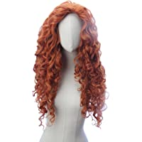 Long Copper Red Curly Wave Inspired Merida Brave Wig Heat Resistant Synthetic Hair