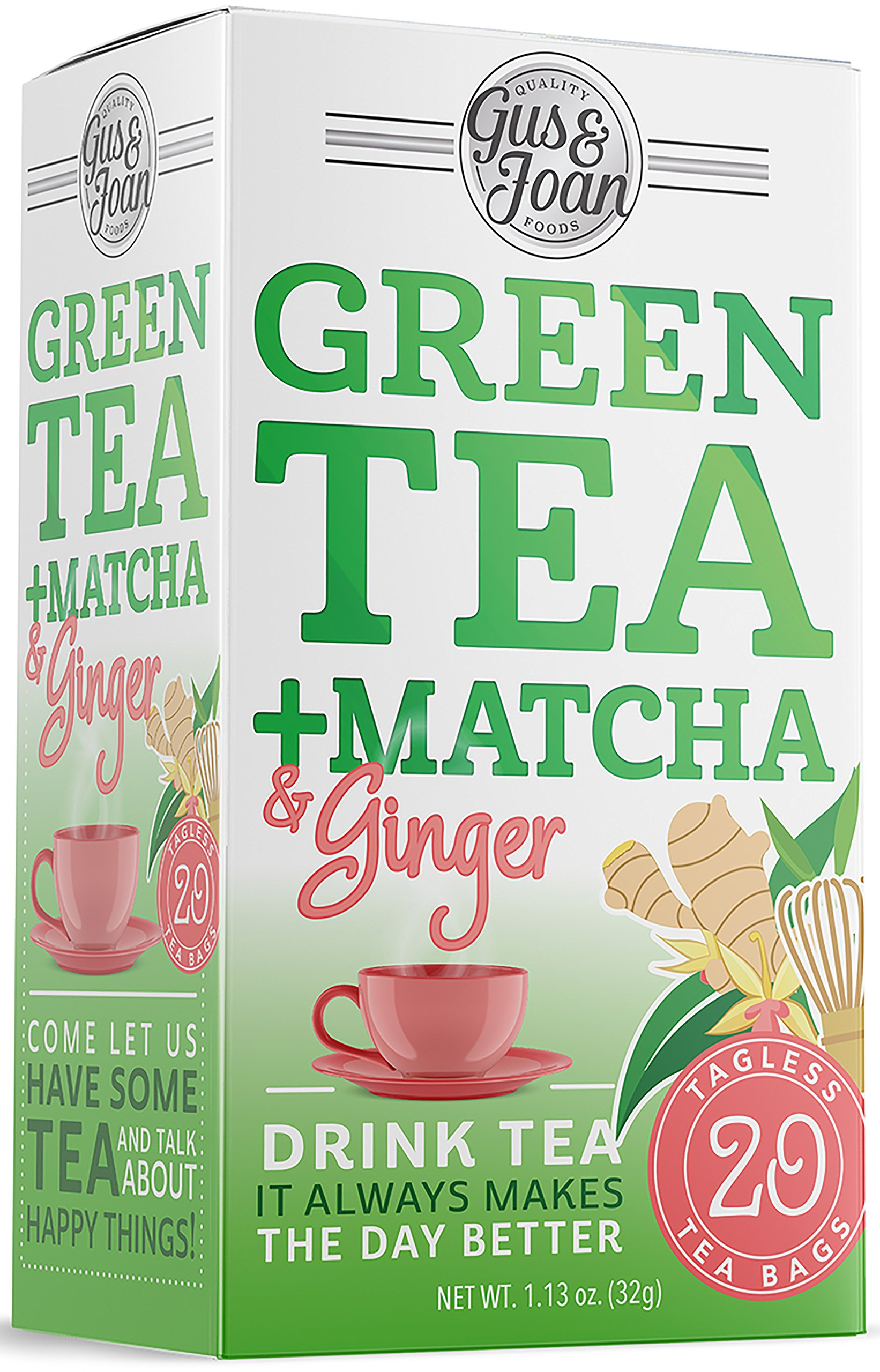 Gus and Joan Green Tea, Ginger and Matcha, (Pack of 3), 60 Total Tea Bags