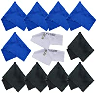 Microfiber Cleaning Cloths - 10 Colorful Cloths and 2 White ECO-FUSED Cloths - Ideal for Cleaning Glasses, Spectacles, Camera Lenses, iPad, Tablets, Phones, iPhone, Android Phones, LCD Screens and Other Delicate Surfaces (blue / black)