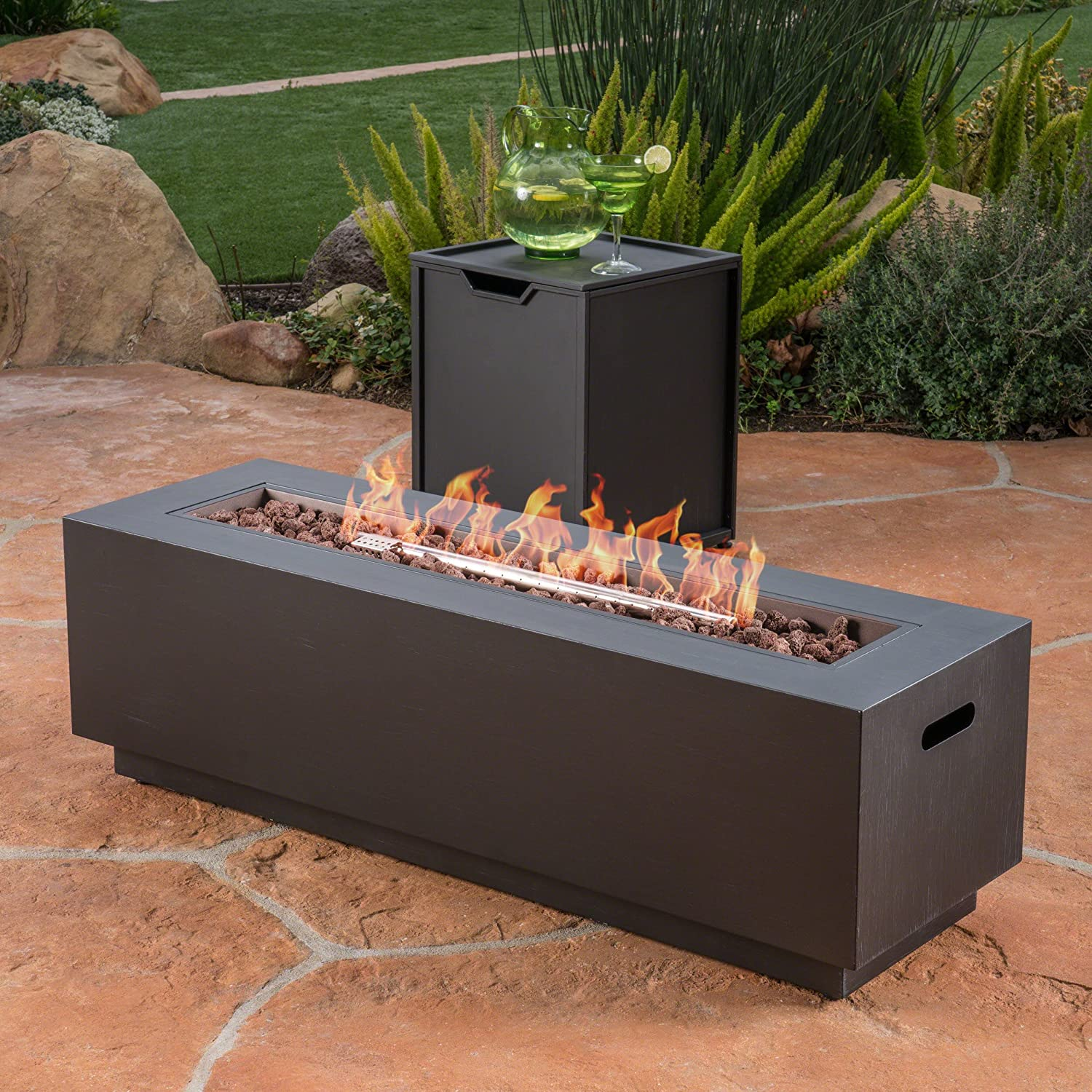Christopher Knight Home 304017 Jasmine Outdoor Dark Grey Finish Iron Rectangular Fire Pit-50,000 BTU