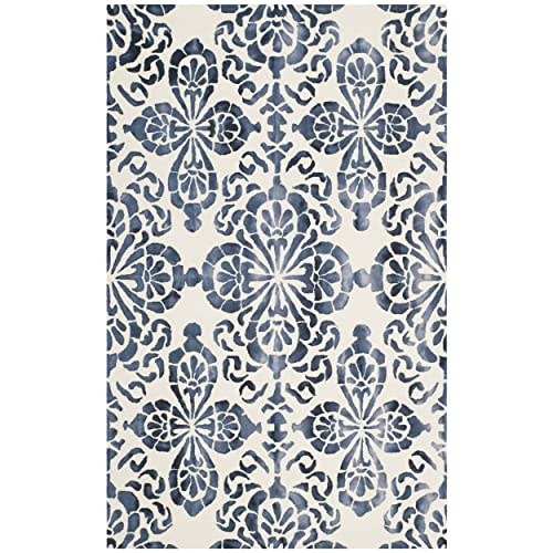 Safavieh Dip Dye Collection DDY719P Handmade Geometric Medallion Watercolor Ivory and Navy Wool Area Rug 5 x 8