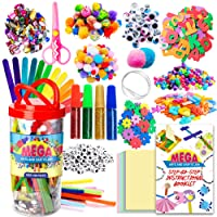 Dragon Too Mega Kids Crafts and Art Supplies Jar Kit - 1000+ Piece Set - Instructional Booklet Included - Glitter Glue, Construction Paper, Colored Popsicle Sticks, Googly Eyes, Pipe Cleaners