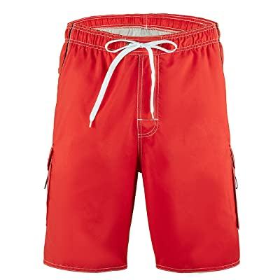 Meegsking Men Quick Dry Swim Trunks Solid Color Beach Board Shorts with Mesh Lining | .com