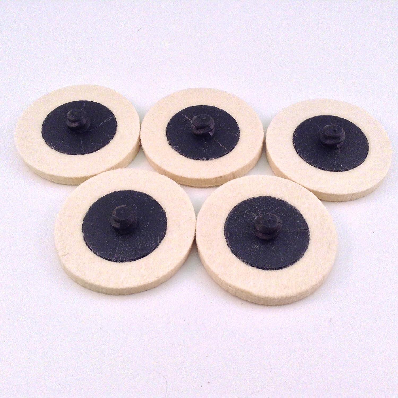 "5pc Roloc Style 3/"" Wool QC Disc Polishing Buffing Pads Wheels"