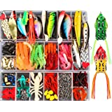 375pcs Lifelike Trout Carp Pike Perch Bass Fishing Lure Kit,2 Frog Freshwater Plopping Minnow with Floating Rotating Tail,Art