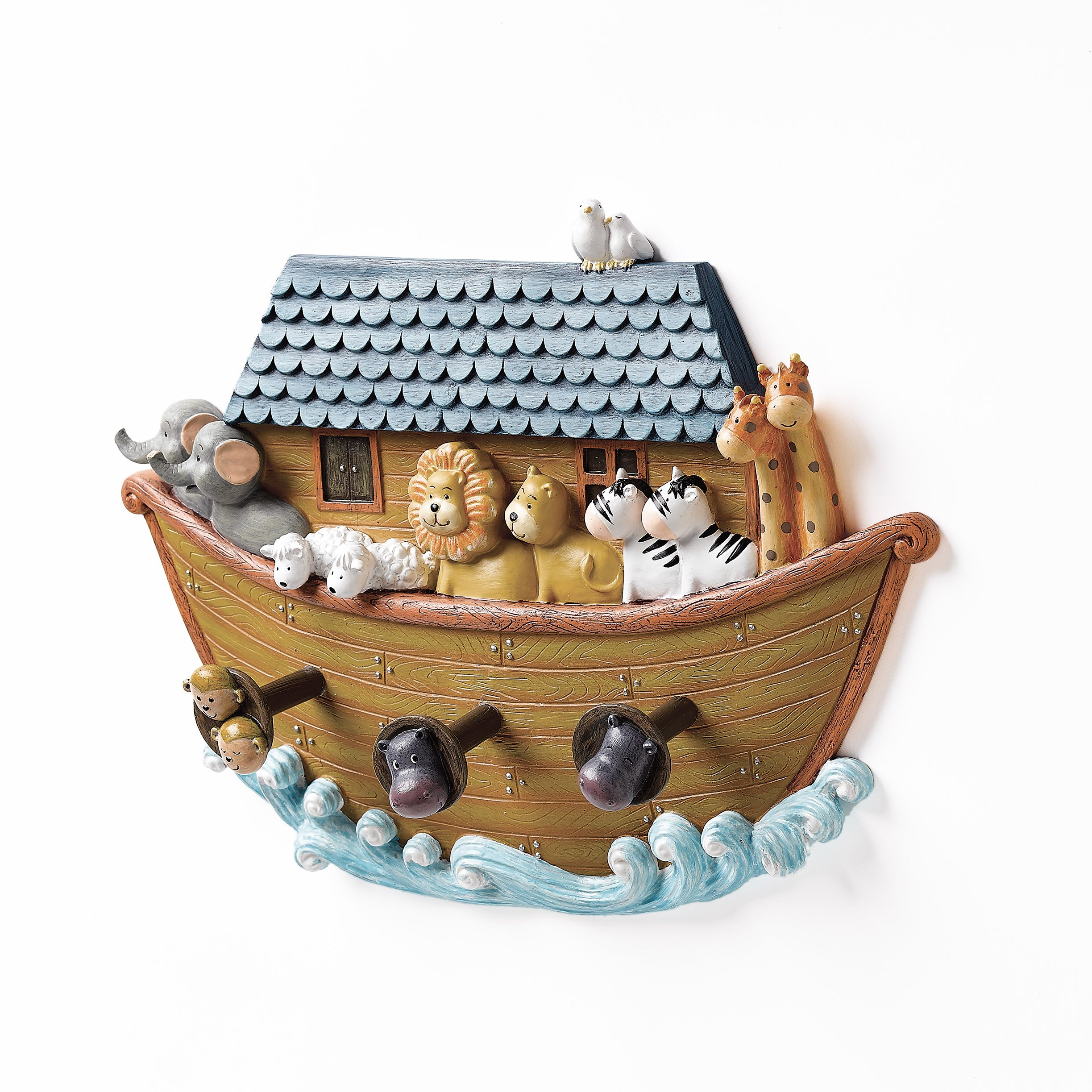 Roman Exclusive Noah's Ark Hand Painted Wall Hook with Three Animal Decorated Hooks, 9-Inch