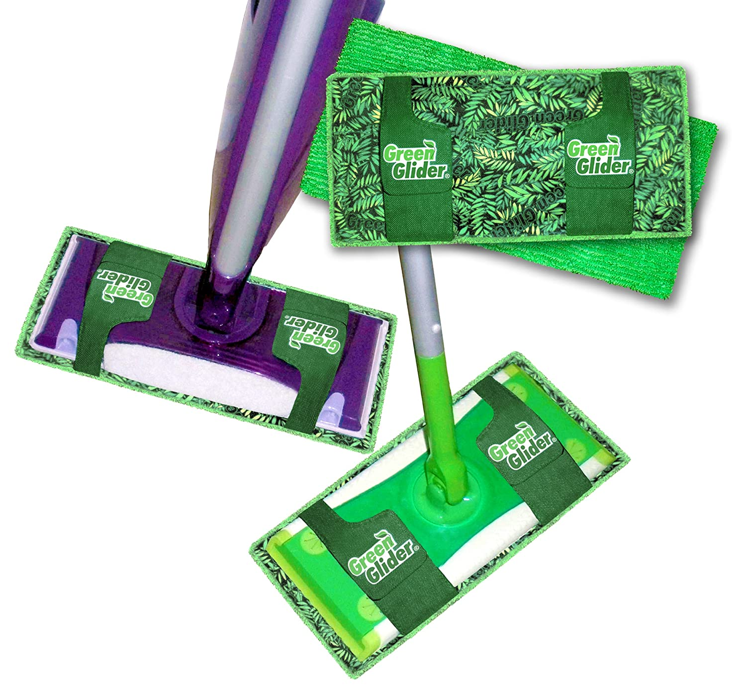 Green Glider Swiffer Reusable Mop Pad! Universal Fit Created Combines Microfiber to Clean Plus Thick Shammy to Absorb! FITS onto Swiffer Wet Jet & Sweeper, Libman, O'cedar ProMist, and More!