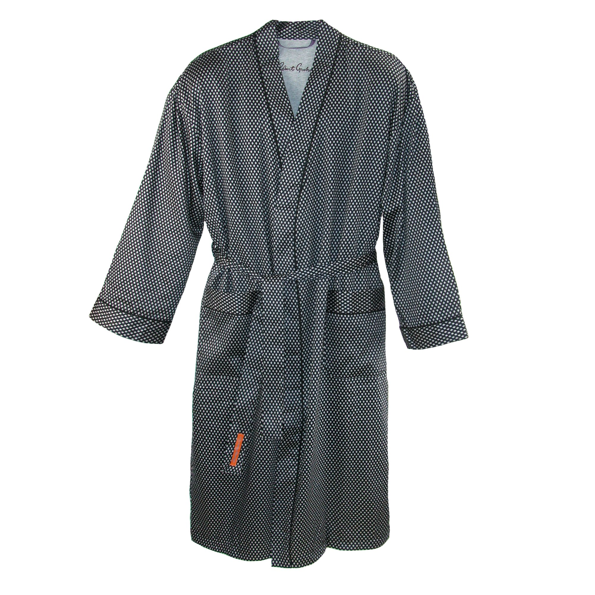 Robert Graham Men's Delta Wing Terry Lined Kimono Robe, Black Diamond