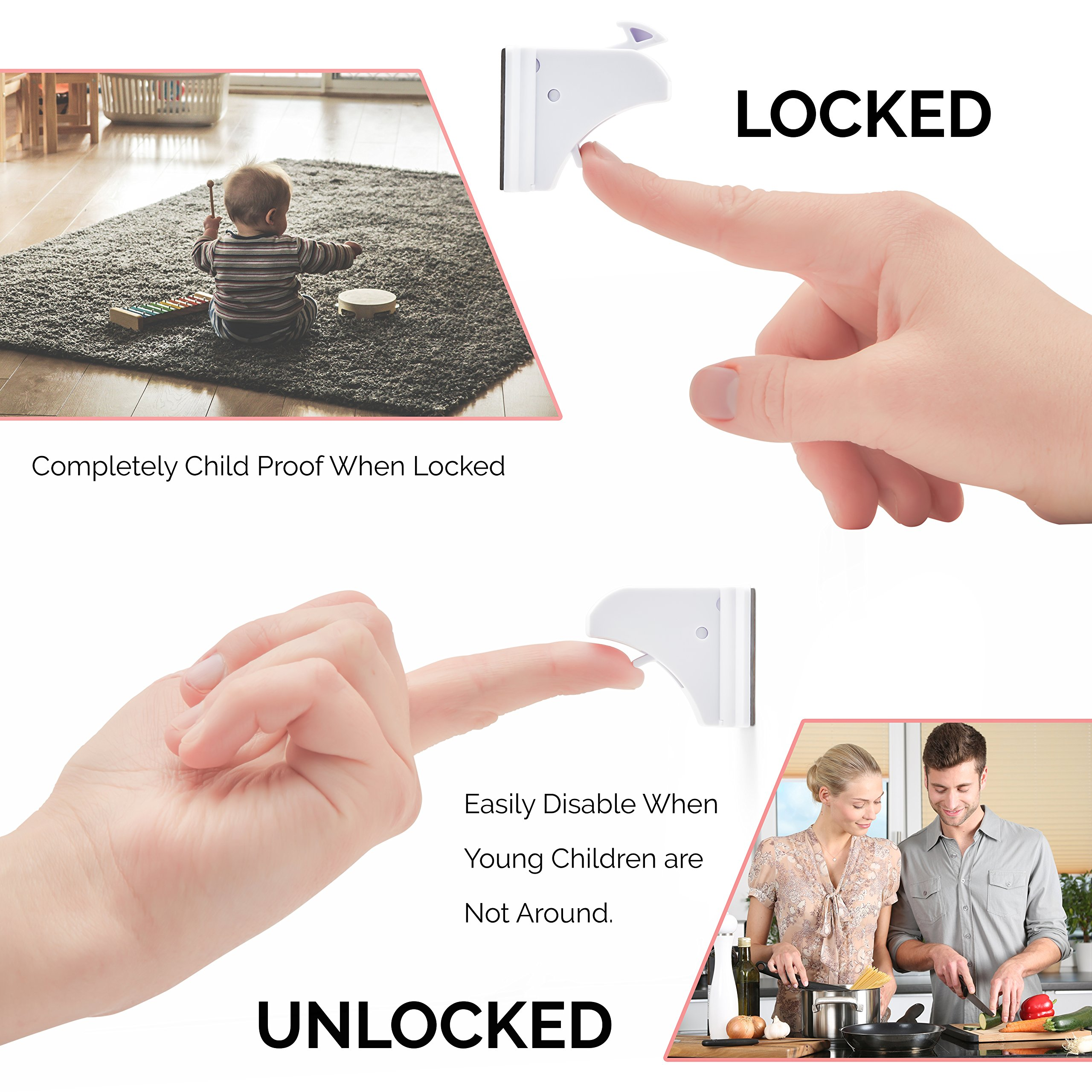 Baby & Child Proof Magnetic Safety Lock - Fits Your Drawer, Cabinet Or Door - 12 Locks And Latches + 2 Keys - Complete Home Proofing Kit - Drill Free - Extra Strong Adhesive - Easy & Fast Installation by BabyProof (Image #6)