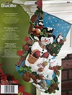 Bucilla 18-Inch Christmas Stocking Felt Applique Kit, 86201 Woodland Snowman