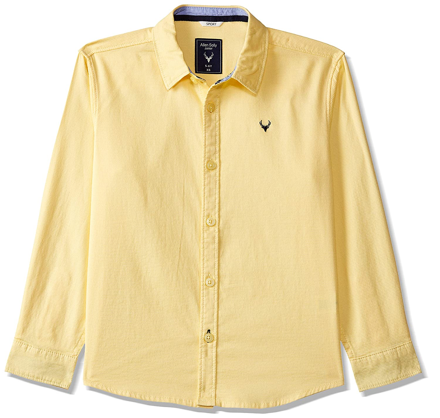 15127b3e0 Allen Solly Junior Boys' Plain Regular Fit Shirt: Amazon.in: Clothing &  Accessories