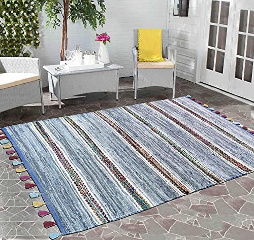 Hand Woven Recycled Contemporary Bohemian Indoor Denim Rag Area Rug