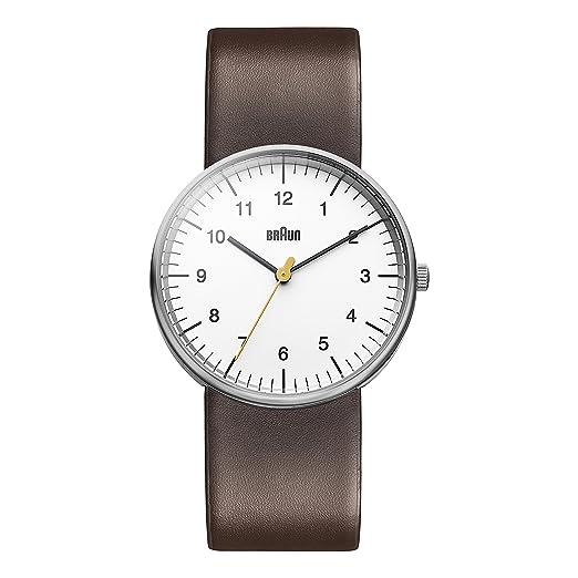 5e580f898aad Braun BN0021WHBRG - Reloj analógico de caballero de cuarzo con correa de  piel  Amazon.es  Relojes