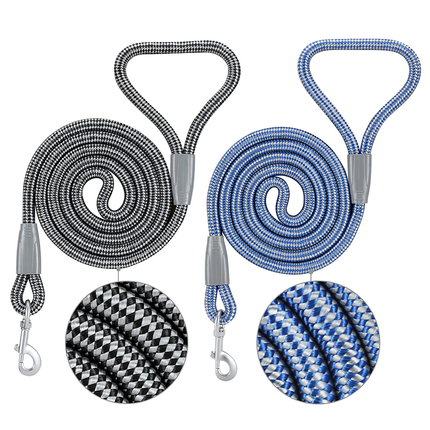 Black & bluee Small Width 0.6\ Black & bluee Small Width 0.6\ 11Z Pet Holiday Discount Mountain Climbing Rope Dog Leash 2PCS Black & bluee 4 or 6 FT Long Sturdy Nylon Suitable for Small Medium Large Dogs Cat Lead