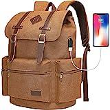 Modoker Mens Canvas Vintage Backpack for Men, Travel Laptop Backpack Fits 17/15.6 Inch Computer & Tablet, Large Bookbag Rucks