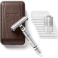 Störtebekker® Rasierhobel im handgefertigten Lederetui - [10 Astra-Klingen] Rasierer Set - Nassrasierer in Premium-Qualität - Safety Razor - Shaving