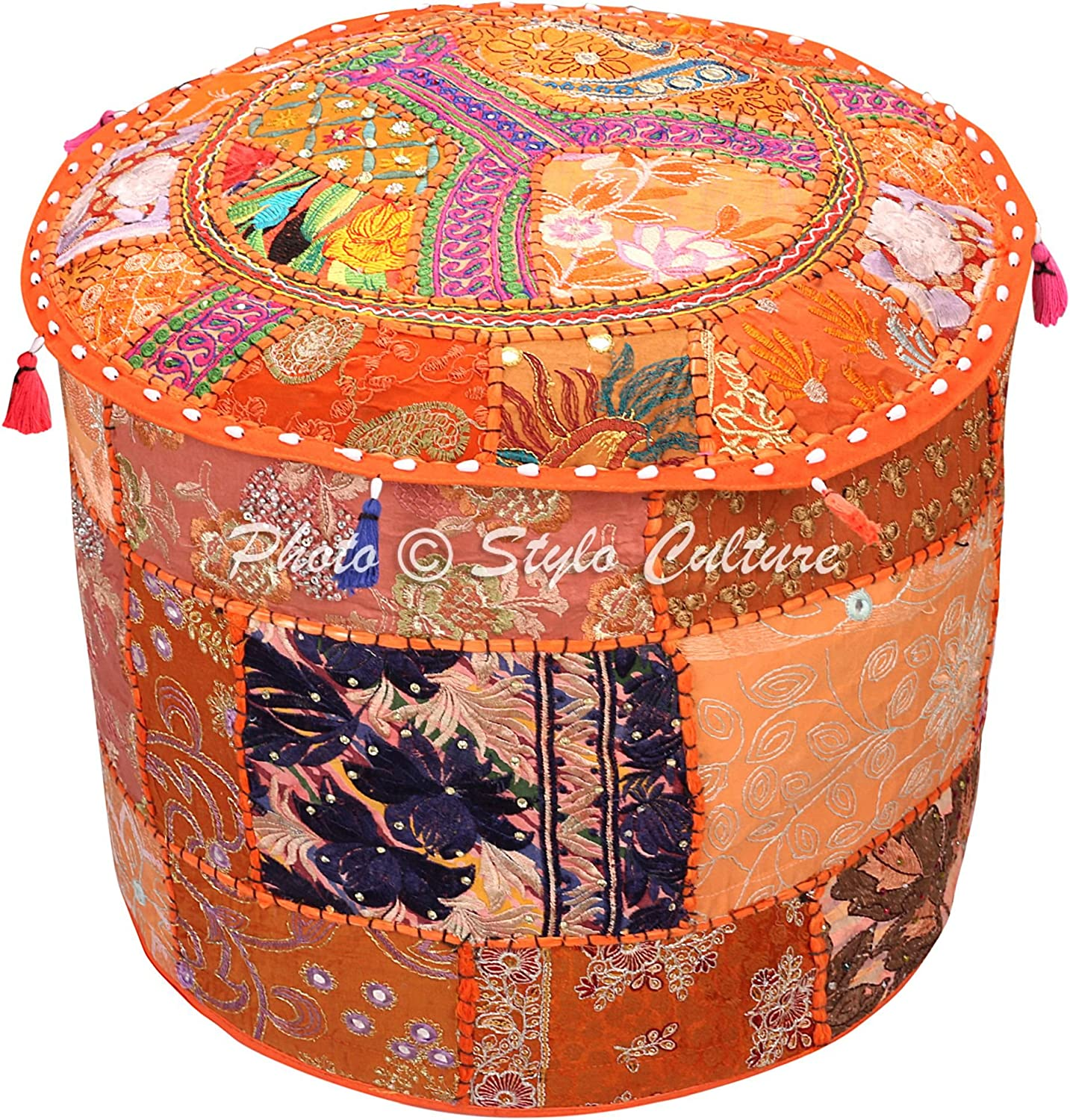 Stylo Culture Indian Floor Pouf Ottoman Cover Round Patchwork Embroidered Pouffe Orange Cotton Floral Traditional Furniture Footstool Seat Puff (16x16x13) Bean Bag Living Room Decor