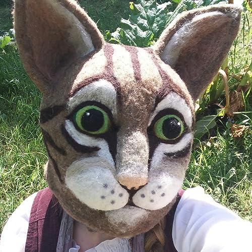 Giant Cat Head Mask Felted Furry Wool Needle Felt Amazon Co Uk