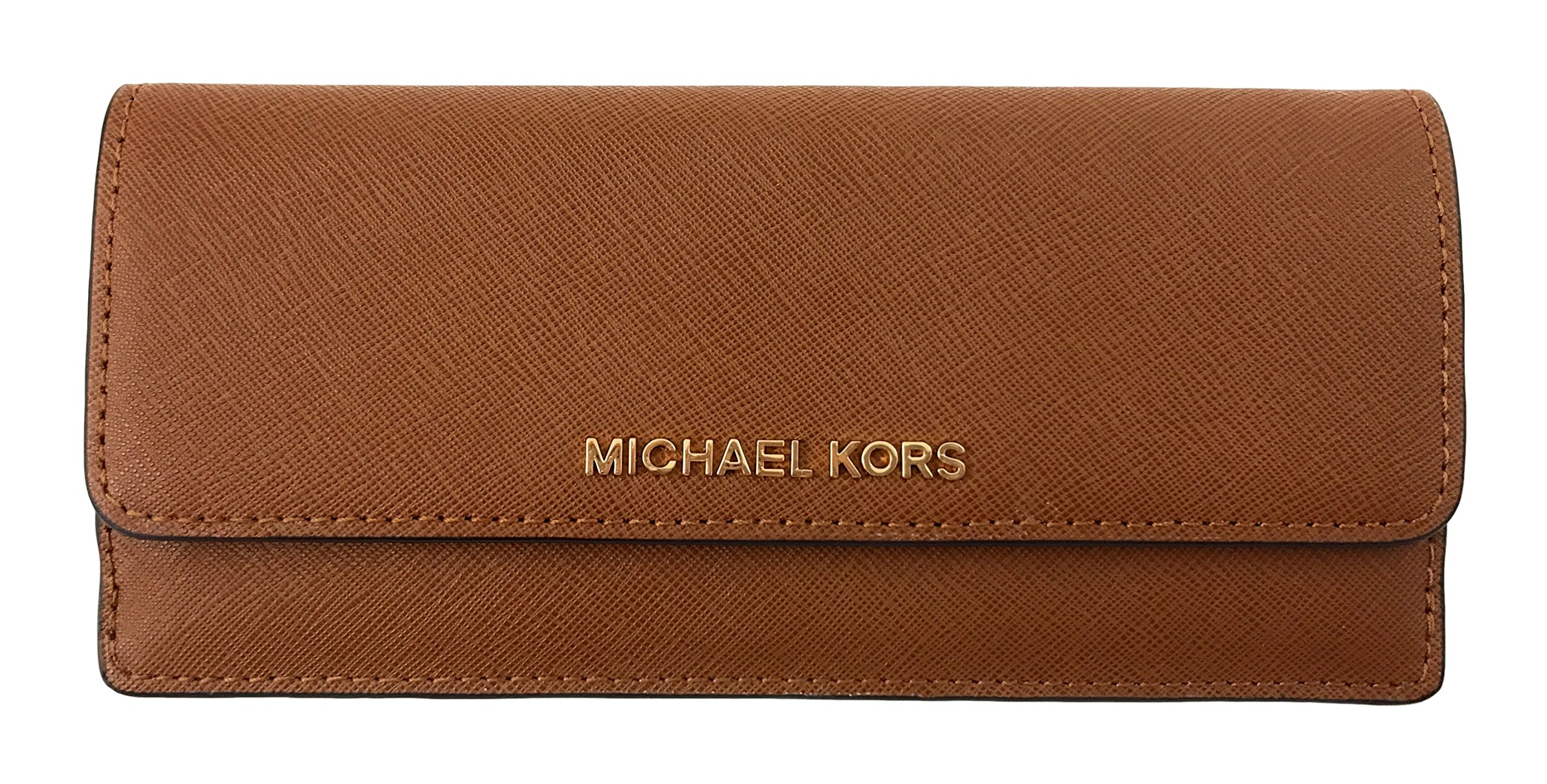 Michael Kors Jet Set Travel Saffiano Leather Slim Flat Wallet in Luggage